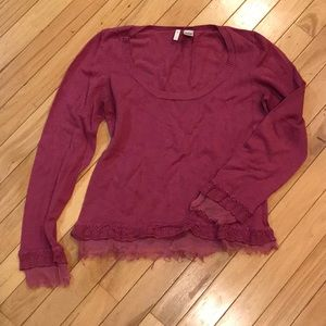 MOTH - Pink Sweater with Fringe Detail